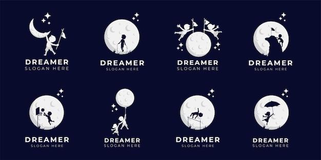 Coleção de ilustração de design de logotipo dos sonhos de criança - logotipo do dreamer