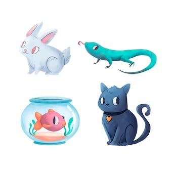 Coleção de ilustração de diferentes animais de estimação