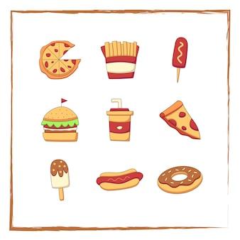Coleção de ilustração de doodle de fast food fofa