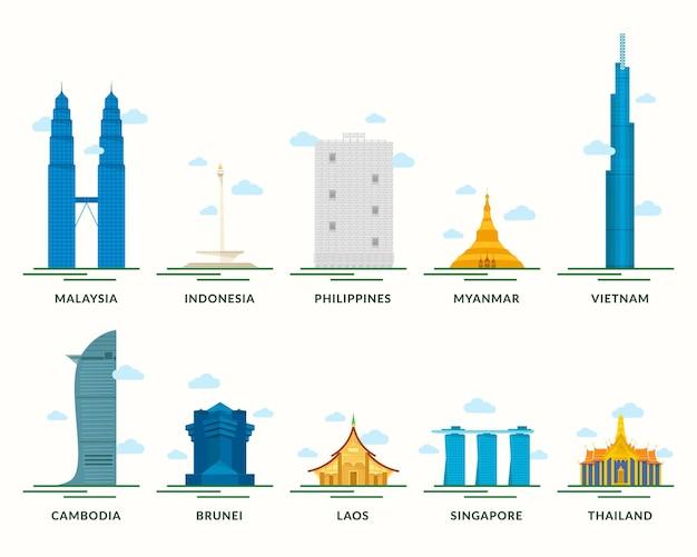 Coleção de ilustração de edifícios da asean