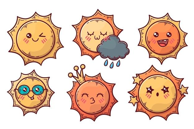 Coleção de ilustração de elementos do sol