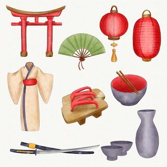 Coleção de ilustração de elementos japoneses