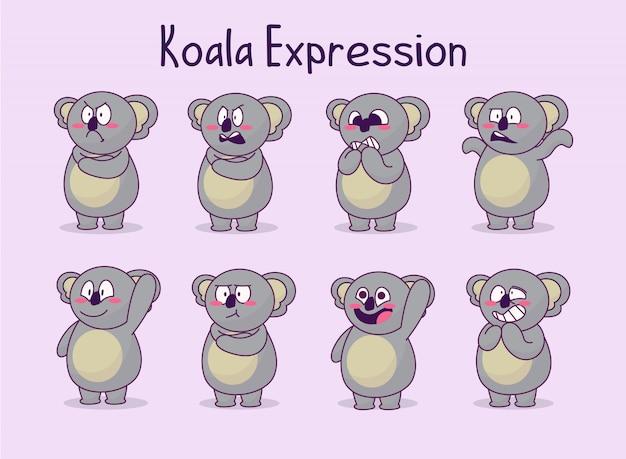 Coleção de ilustração de expressão de coala fofa