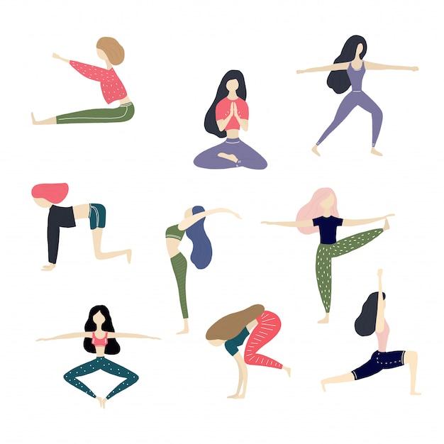 Coleção de ilustração de garota de ioga de vetor