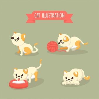 Coleção de ilustração de gato bonito posa em estilo cartoon