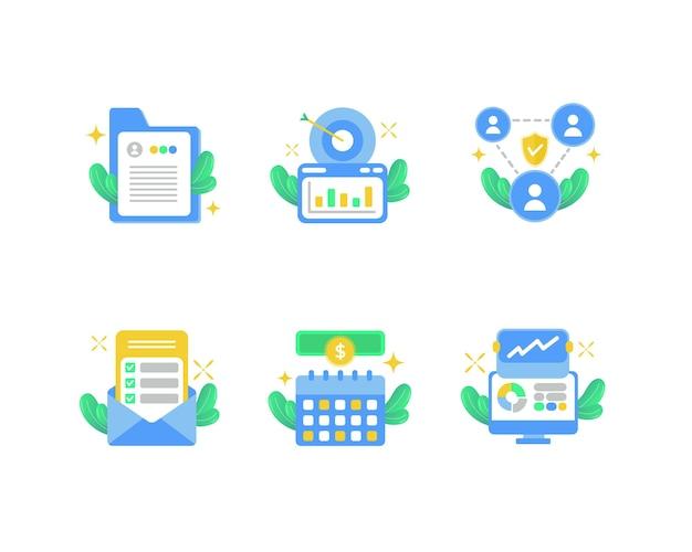 Coleção de ilustração de ícone de negócios
