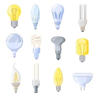 Coleção de ilustração de lâmpadas diferentes