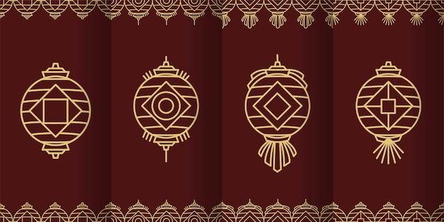 Coleção de ilustração de lanterna chinesa de linha geométrica