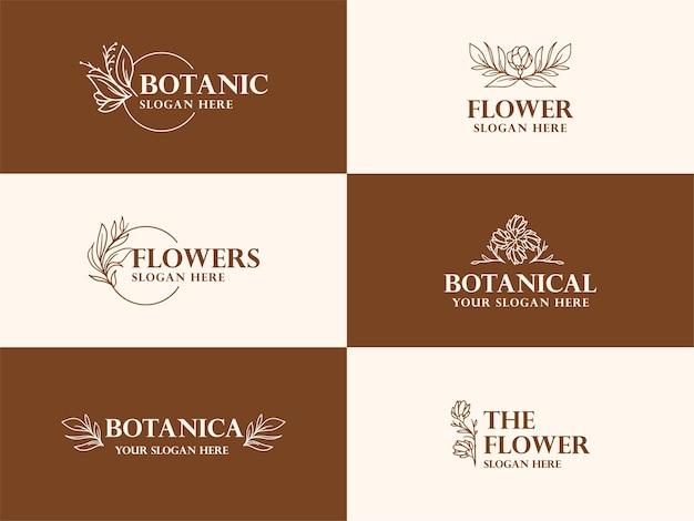 Coleção de ilustração de logotipo botânico desenhado à mão para beleza, marca natural e orgânica