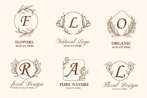 Coleção de ilustração de logotipo de coroa de flores desenhada à mão para beleza, marca natural e orgânica