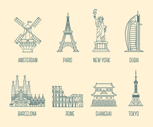 Coleção de ilustração de marcos nacionais símbolo do país do mundo