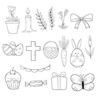 Coleção de ilustração de páscoa com doodle ou mão desenhado estilo