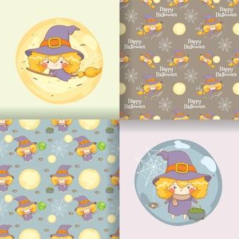 Coleção de ilustração de personagem de desenho animado de bruxinha fofa com conjunto de padrões sem emenda