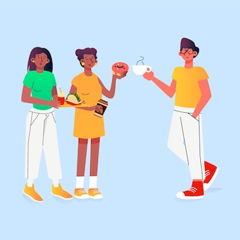 Coleção de ilustração de pessoas com comida