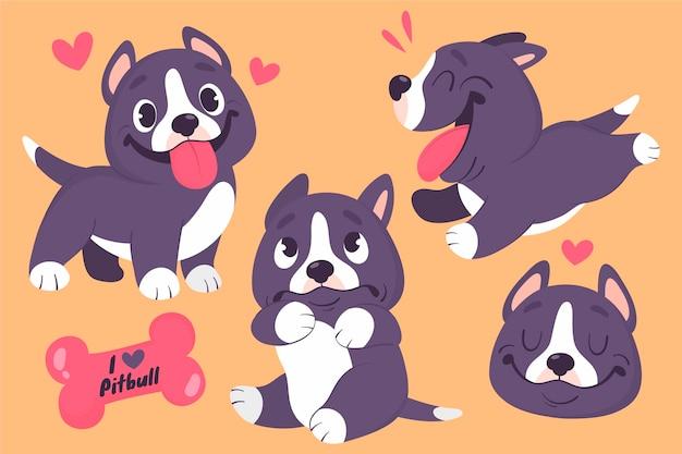 Coleção de ilustração de pitbull dos desenhos animados