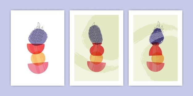Coleção de ilustração de pôster de vaso abstrato e planta