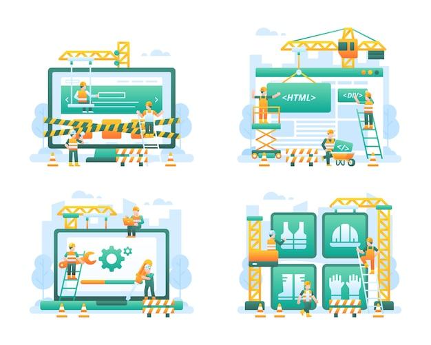 Coleção de ilustração de site em construção