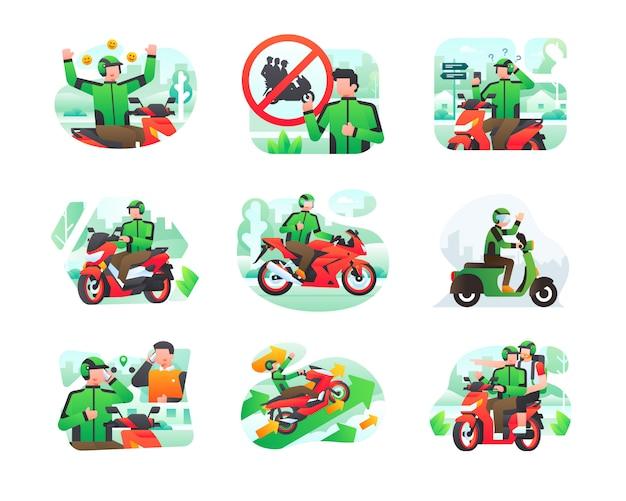 Coleção de ilustração de transporte on-line