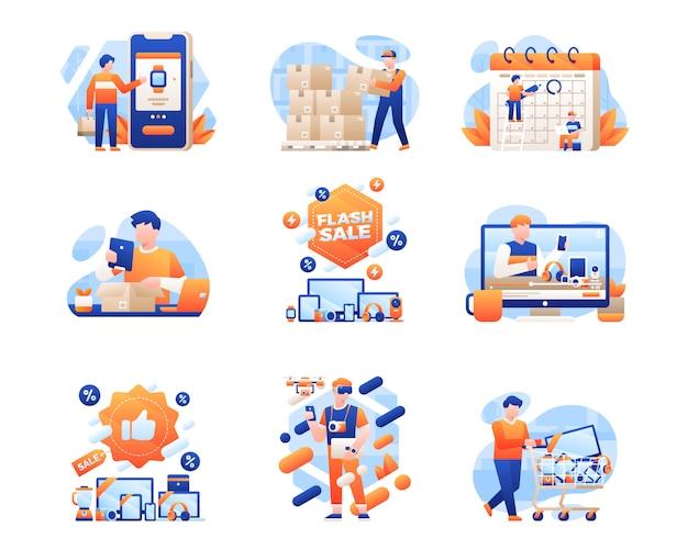 Coleção de ilustração de venda segunda-feira cibernética