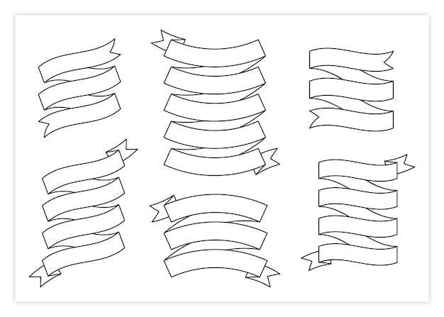 Coleção de ilustração de vetor de banner de modelo de fita de contorno grande coleção de formas diferentes