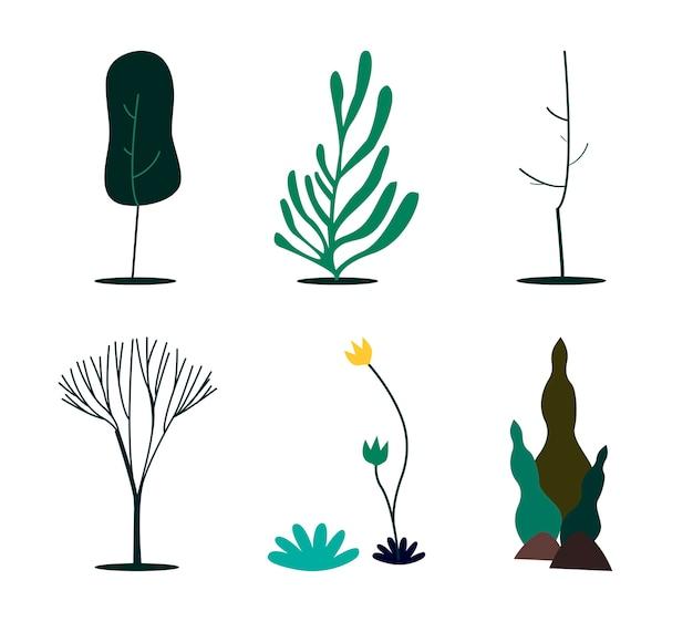 Coleção de ilustração do conceito de natureza verde