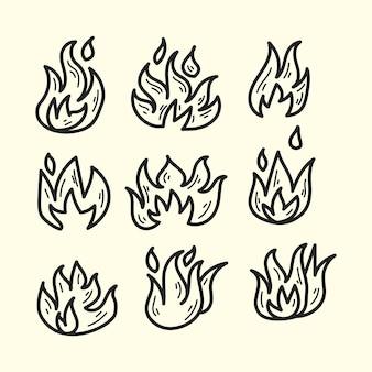 Coleção de ilustração do doodle de fogo