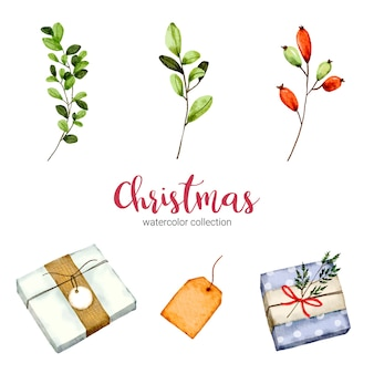 Coleção de ilustração em aquarela de decorações de natal