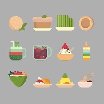 Coleção de ilustração plana de comida e lanche indonésio