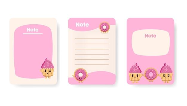 Coleção de ilustração plana de vetor de página de caderno de nomeação infantil fofo. lista colorida de afazeres, lembrete e página em branco com personagem de bolo fofo