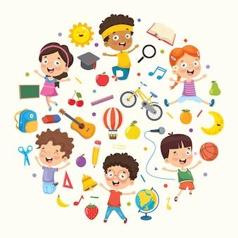Coleção de ilustração vetorial de crianças e objetos