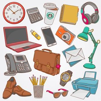 Coleção de ilustração vetorial de mão desenhada rabiscos de objetos de negócios e itens de escritório