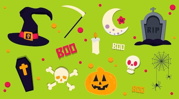 Coleção de ilustração vetorial de objetos e ícones de desenhos animados de halloween em cores brilhantes e vibrantes