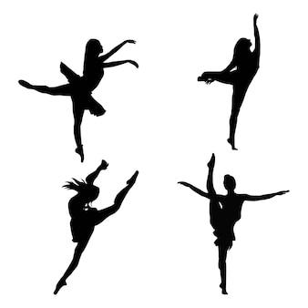 Coleção de ilustração vetorial de silhueta de dançarina de balé