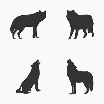Coleção de ilustração vetorial de silhuetas de animais de lobo