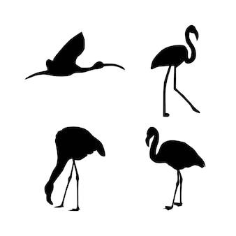 Coleção de ilustração vetorial de silhuetas de animais flamingo