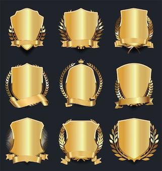 Coleção de ilustração vetorial design retro escudo dourado