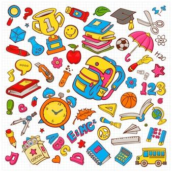 Coleção de ilustração vetorial doodle na escola