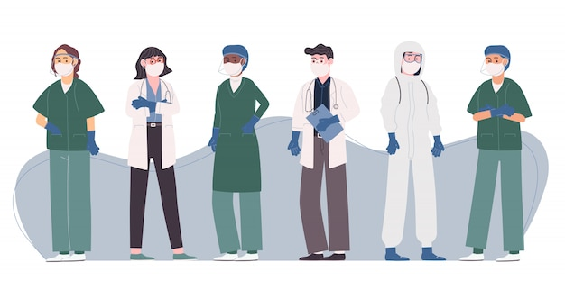 Coleção de ilustração vetorial estilo simples da equipe profissional de médico e enfermeiro.