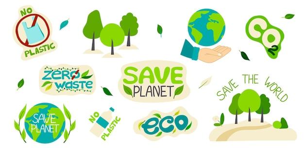 Coleção de ilustrações ambientais com sloganszero ecologia de reciclagem de resíduos