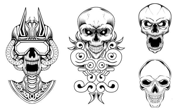 Coleção de ilustrações com desenho de caveira em preto e branco