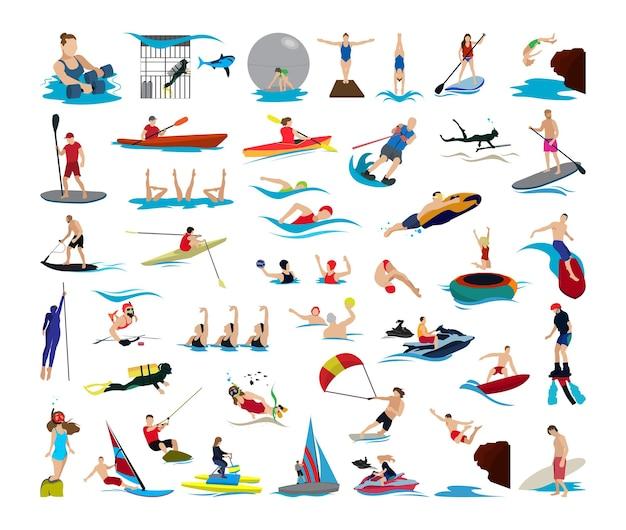 Coleção de ilustrações com personagens envolvidos em esportes aquáticos.