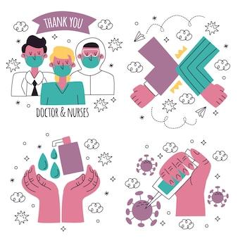 Coleção de ilustrações de adesivos de coronavírus desenhados a mão