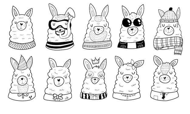 Coleção de ilustrações de alpaca