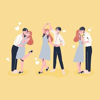 Coleção de ilustrações de amantes passando um tempo juntos