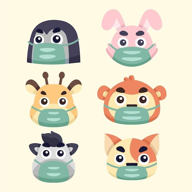 Coleção de ilustrações de animais fofos usando máscaras Vetor Premium