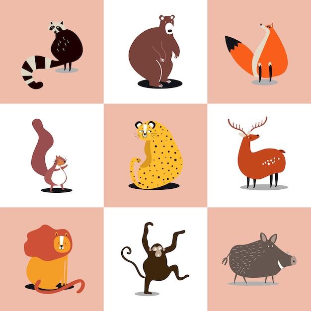 Coleção de ilustrações de animais selvagens fofos