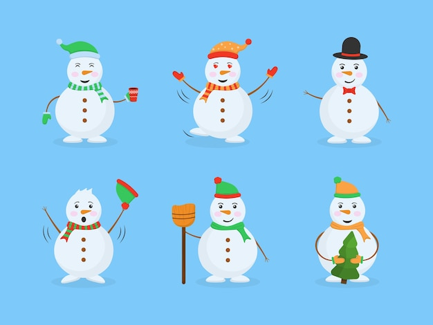 Coleção de ilustrações de boneco de neve
