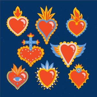 Coleção de ilustrações de coração sagrado