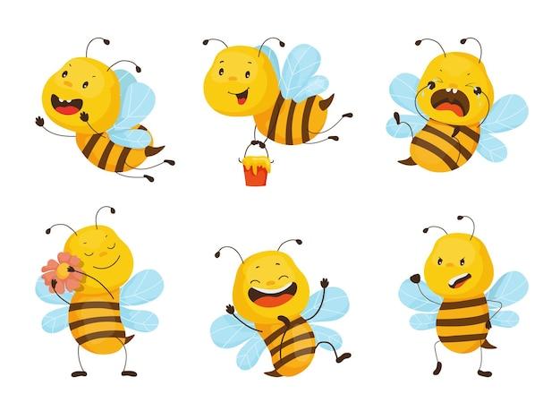 Coleção de ilustrações de desenhos animados com abelhas