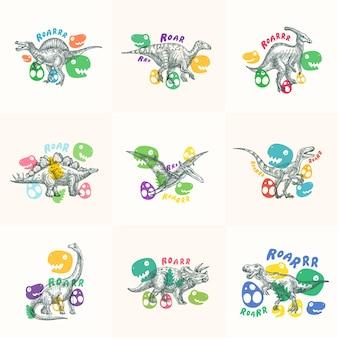 Coleção de ilustrações de dinossauros
